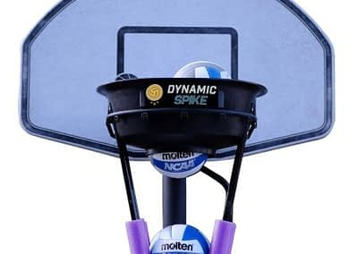 The DynamicSpike Volleyball hitting trainer with purple foam arms