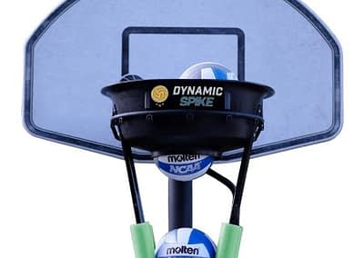 The DynamicSpike Volleyball hitting trainer with lime green foam arms