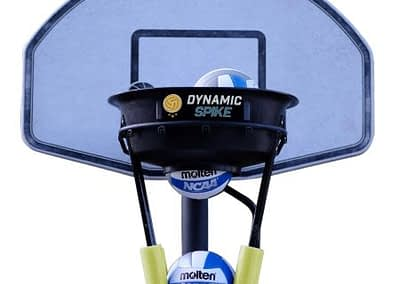 The DynamicSpike Volleyball hitting trainer with yellow foam arms